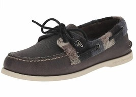 New Sperry Top-Sider Men's A/O 2-Eye Plaid Boat Shoes Grey/Black Variety... - $94.99