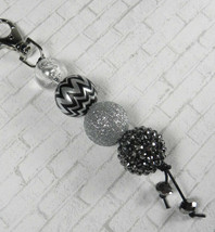 Chevron Rhinestone Bubbblegum Handmade Beaded Keychain Purse Charm Black... - $14.54