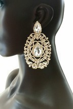 "4"" Long Oversized Clip On Earrings Clear Rhinestones Drag Queen Pageant, Bridal - $28.45"
