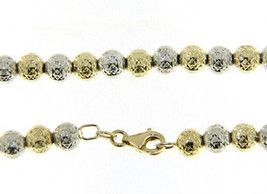 """18K YELLOW WHITE GOLD CHAIN WORKED SPHERES 5mm DIAMOND CUT FACETED BALL 16"""" 40cm image 1"""