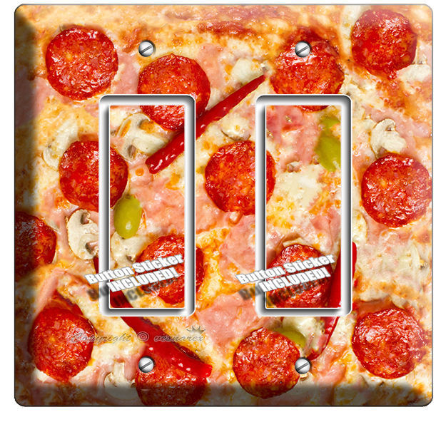 PEPPERONI CHEESE ITALIAN PIZZA LIGHT SWITCH OUTLET WALL PLATE KITCHEN HOME DECOR