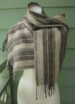 BILL BLASS COUNTRY SCARF WOOL BLEND STRIPED SPECKLED TWEED 64 x 15 Made ... - $18.99
