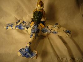 Vaillancourt Folk Art Santa in Gold Flying Delft Plane Signed by Judi  image 5