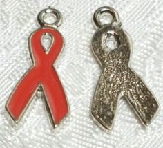 AWARENESS RIBBON FINE PEWTER PENDANT CHARM - 1.5x19x9mm = YOU CHOOSE COLOR image 5