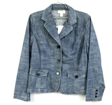 Talbots NWT $88 Denim Jacket Buttons  Blazer Casual Medium Wash Size 8 - $44.00