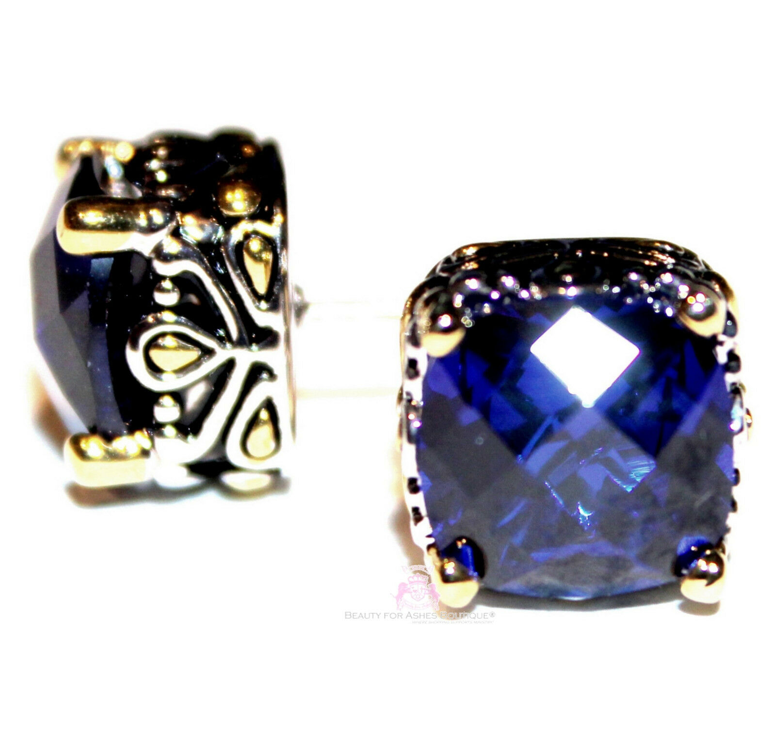 Primary image for 10mm Throne Room Checker Cut Cubic Zirconia Dark Sapphire Blue Cz Post Earrings