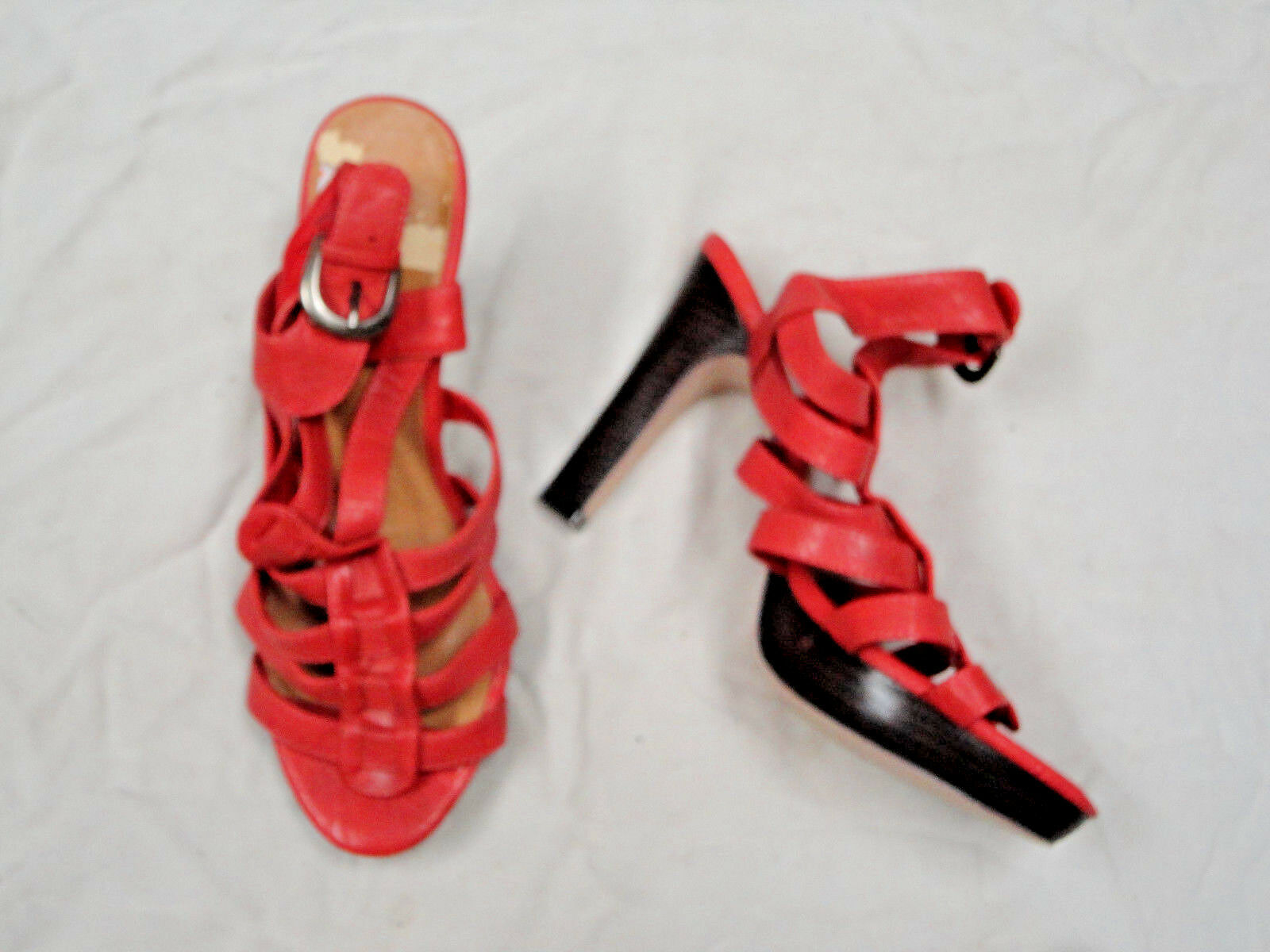 Primary image for Madden Girl light red colored sandal   Size 8 1/2  Adjustable Buckle