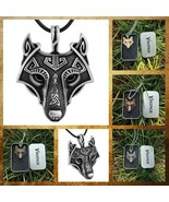 Norse Viking Pendant Norse Wolf Head Mens Cord Rope Chain Animal Necklac... - $9.26+