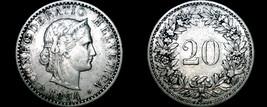 1894 Swiss 20 Rappen World Coin - Switzerland - $19.99