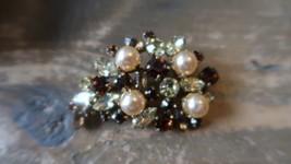 "Antique Juliana 2"" Amber Rhinestone Faux Pearl Brooch - $37.12"
