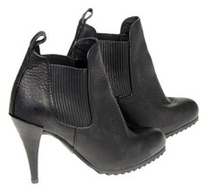 Pedro Garcia Yoad Black Leather Chelsea Boots High Heel Booties 37.5 - $174.79