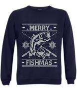 Merry Fishmas Ugly Christmas Sweaters Men's Fishing Sweatshirts Jumper X... - $39.97