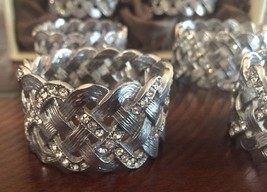 L'Objet Braid Swarovski Crystal Napkin Rings Jewels, Platinum, Set of 4 ... - $84.15