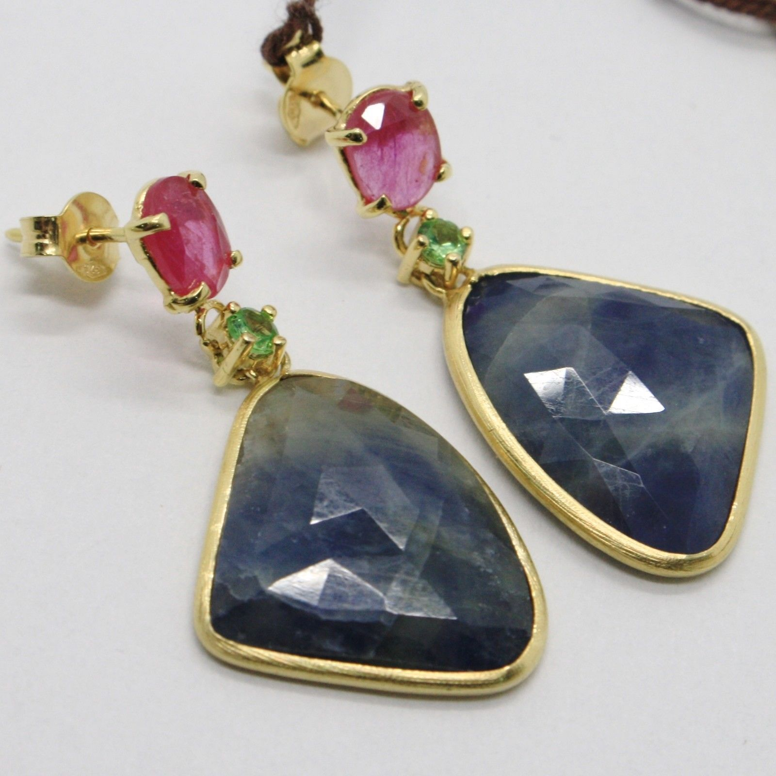 YELLOW GOLD EARRINGS 9K WITH SAPPHIRES BLUE AND PINK AND PERIDOT MADE IN ITALY