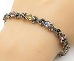 925 Silver - Vintage Amethyst Citrine & Aquamarine Chain Bracelet - B5550 - $50.23