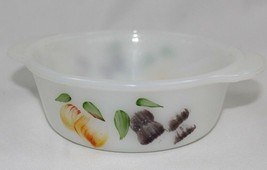 Vintage Small Fire King Milk Glass Casserole Dish - Hand Painted Fruit D... - $8.41