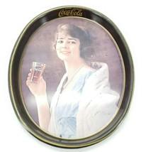 Vintage Antic Coca-Cola Serving Tray Metallic Plate Woman drinking Coke - $46.72