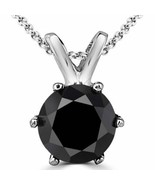 0.26 Carat 14K White Gold Black Diamond 6 Prong Solitaire Necklace & Chain - $345.51