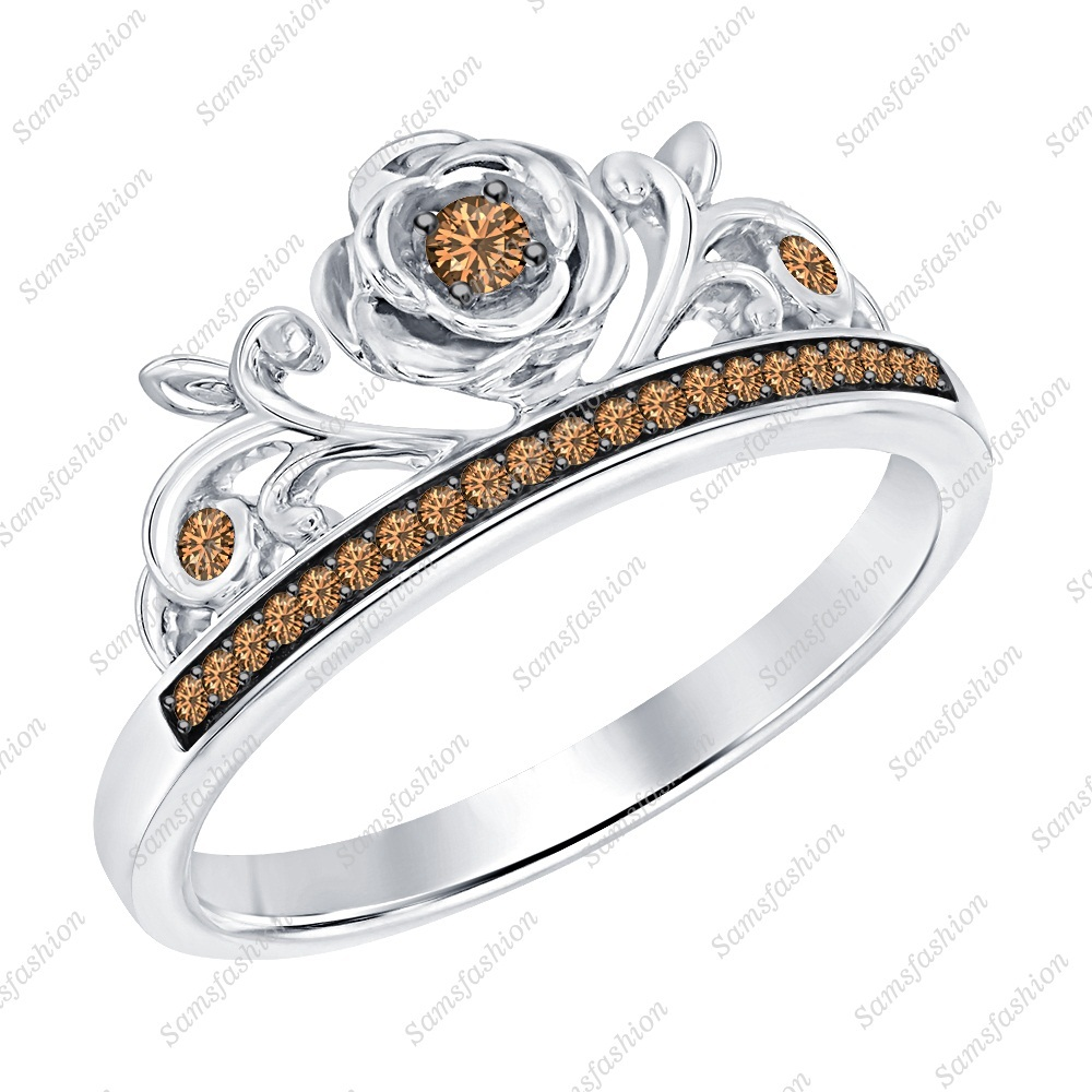 Primary image for Round Smoky Quartz 14k White Gold Over .925 Silver Rose Flower Engagement Ring
