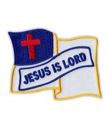 Motorcycle Jacket Embroidered Patch - Christian Flag, Jesus is Lord (Wav... - $6.99
