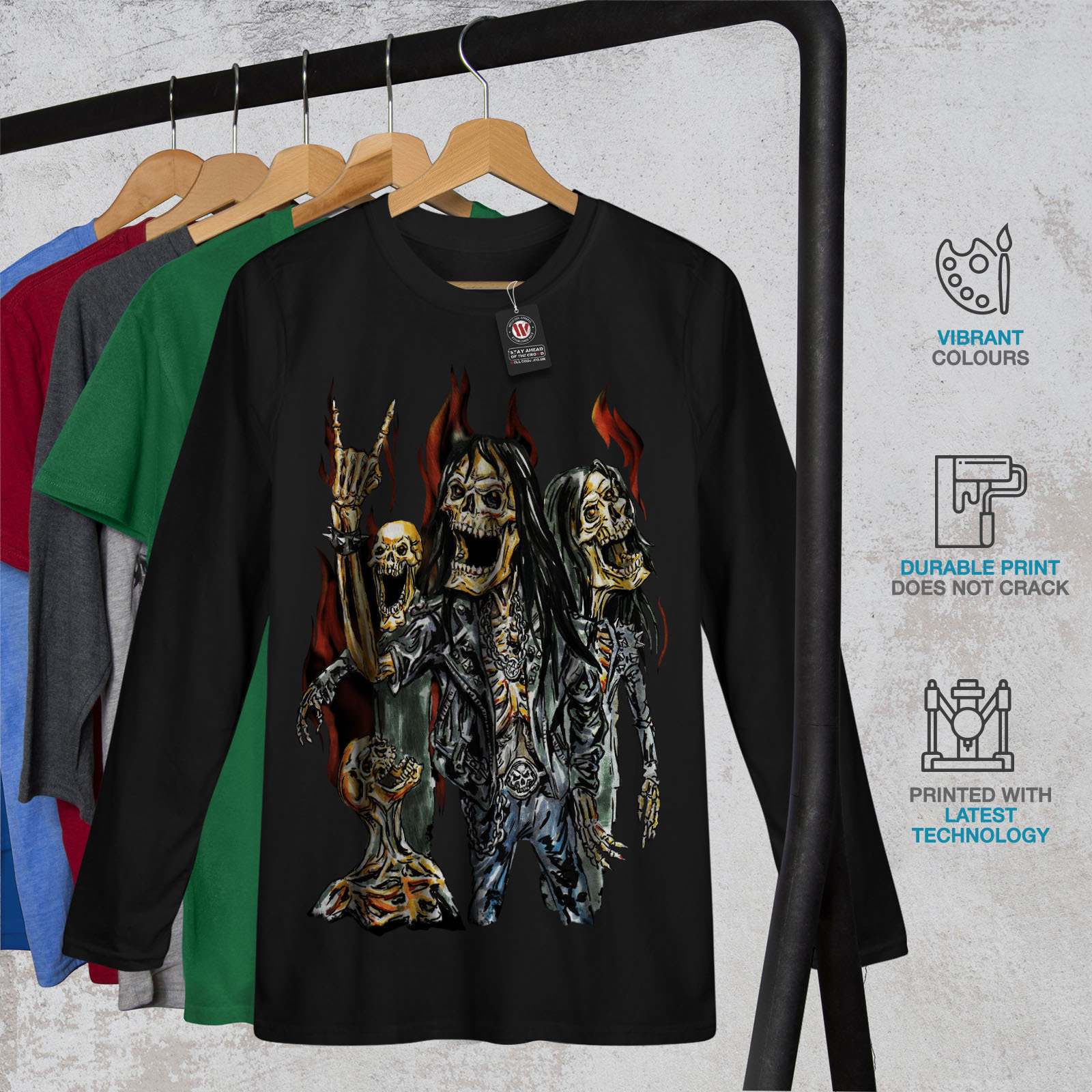 Skeleton Rock Band Tee Heavy Metal Men Long Sleeve T-shirt