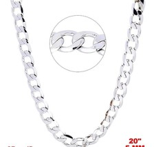 New Italian 14k White gold Rhodium on 925 Sterling Silver Curb Chain- 5 ... - $32.68