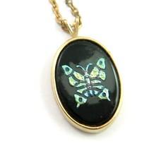 """Iridescent BUTTERFLY NECKLACE  Vintage Black Shiny Glass  Goldtone 17"""" Avon - $16.99"""