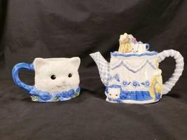 Avon Gift Collection Blue Rose Cat 19 OZ Teapot Matching 10 OZ Mug Ceram... - $24.23