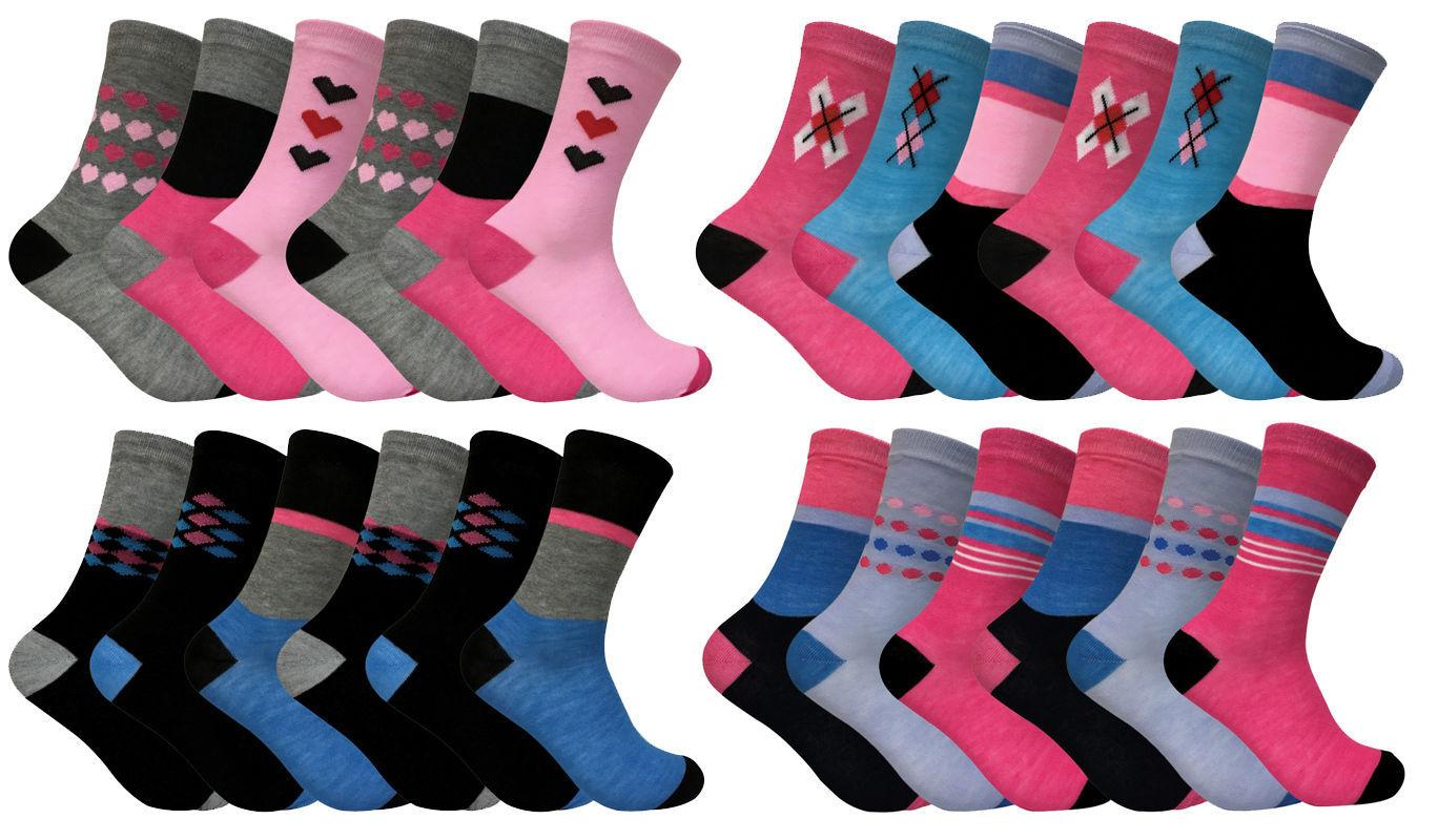 Soxinnabox - 6 paires femme fantaisie motif imprimees rose motif chaussettes