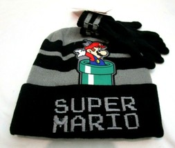 Mario Brothers Cuffed Cuffed Beanie Hat + Matching Finger Gloves Set-Bra... - $29.69