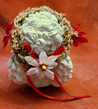 DREAMSICLE, Angel Cast Art Figurine, Kristin 1994 Flower Poinsettia Berries image 2