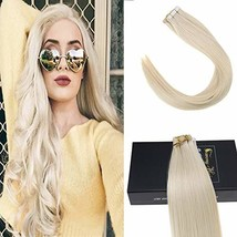 Sunny 16inch Tape in Remy Hair Extensions Color #60 Platinum Blonde Real... - $54.69