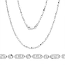 Men/Women's Unique 925 Silver 14k WG Diamond Cut Bead Link Chain Necklac... - $43.39+