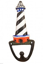 Lighthouse Decorative Nautical Wall Hook Black & White Coat Hanger 6.375... - $8.99