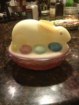 Fenton Glass Eggs Bunny Rabbit On Nest Box Covered Candy Dish Stunning - $98.51