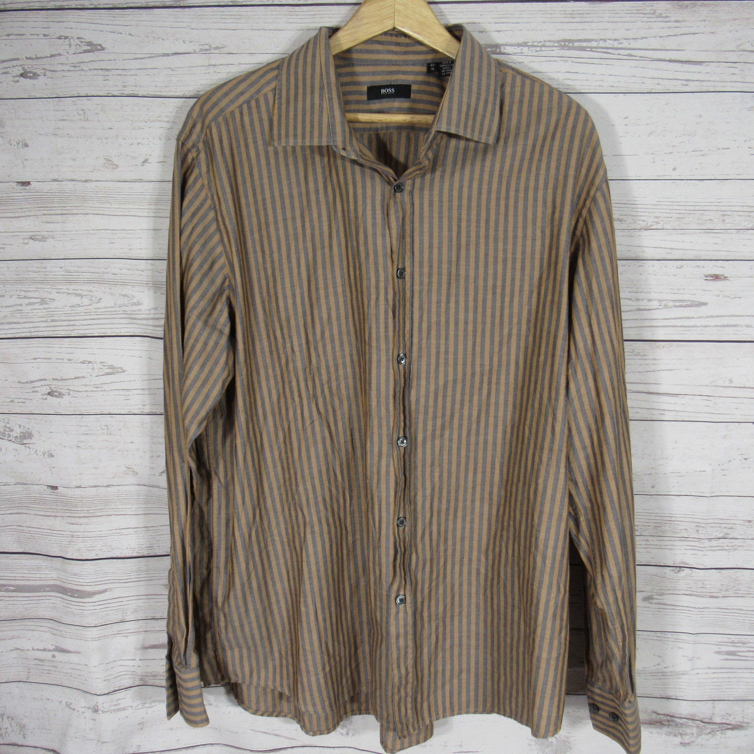 ffcb6827d S l1600. S l1600. Previous. Hugo Boss Dress Shirt Mens Large L 18 Blue  Brown Vertical Stripes Button Up
