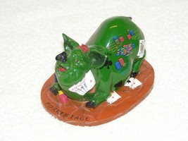"PIG INVASION ""POKER FACE"" GREEN PIG FIGURINE WITH POKER CARDS & CHIPS GUC - $24.99"
