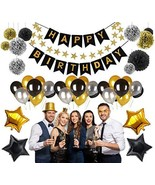HAPPY BIRTHDAY PARTY DECORATIONS KIT, (45pcs) Value Pack - Silver, Black... - $24.04