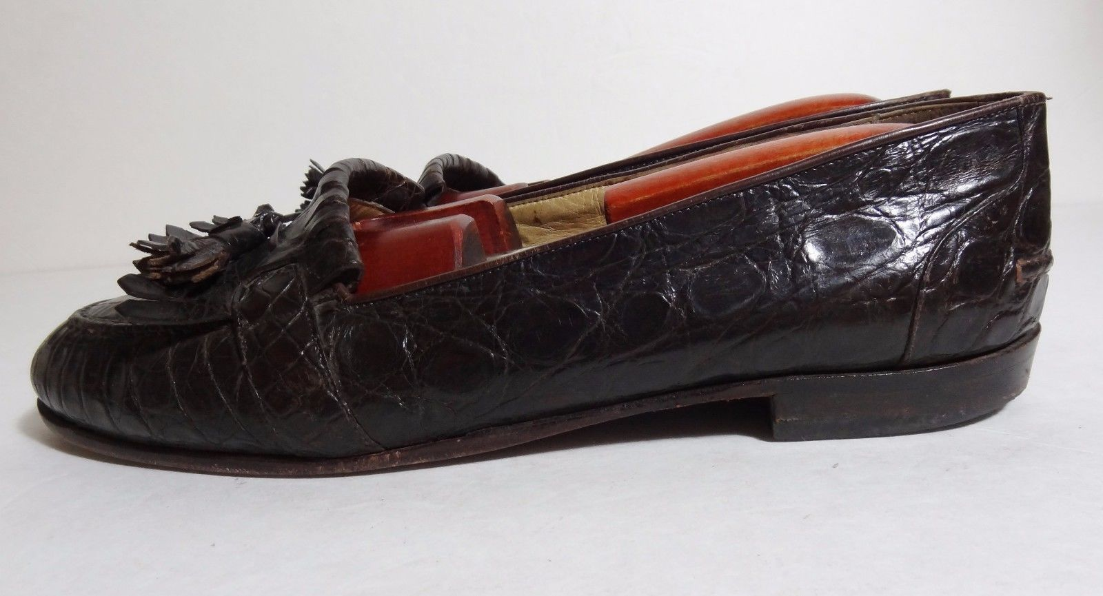 795b64f2936  1200 BRAGANO by COLE HAAN Brown MENS GENUINE CROCODILE TASSEL LOAFERS SIZE  9 D