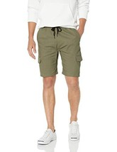 BROOKLYN ATHLETICS Men's Cargo Slim Fit Multi Pocket Stretch Twill Short, Olive,