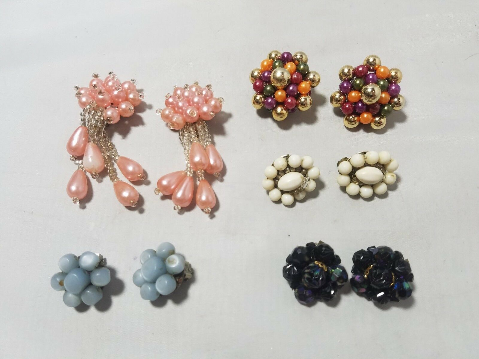Vintage Fashion Earrings Cluster Bead Clip On Retro Mod Lot of 5 Pairs