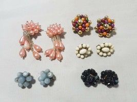 Vintage Fashion Earrings Cluster Bead Clip On Retro Mod Lot of 5 Pairs - $23.24