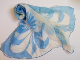"VTG Vera Neumann Scarf 1970s  15.5"" x 42"" White Blue chiffon - £21.00 GBP"