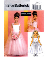 Butterick B4720 Girls Sewing Pattern Formal Dresses Wrap Childrens Sizes... - $6.25