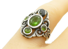 925 Sterling Silver - Vintage Peridot 5 Stone Swirl Band Ring Sz 7 - R12832 - $24.61