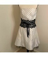 JESSICA MCCLINTOCK Gunne Sax Cream with Black Polka Dot Dress Sz 11 - £22.84 GBP