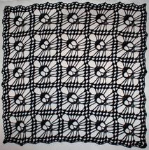 Hand Crochet Skull Afghan| Table Topper| Shawl ~ Black Sparkle - £140.78 GBP