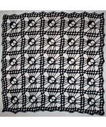 Hand Crochet Skull Afghan| Table Topper| Shawl ~ Black Sparkle - $193.60