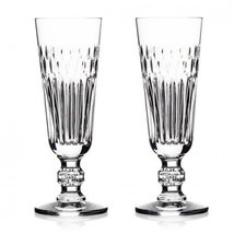 "Waterford ETCHED ""Dona""l Flute 5oz capac Pair CRYSTAL CLEAR MADE IN SLOV... - $190.00"