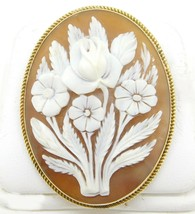Gold-Filled Carved Floral Genuine Natural Shell Cameo Pin / Pendant (#J4... - $250.00